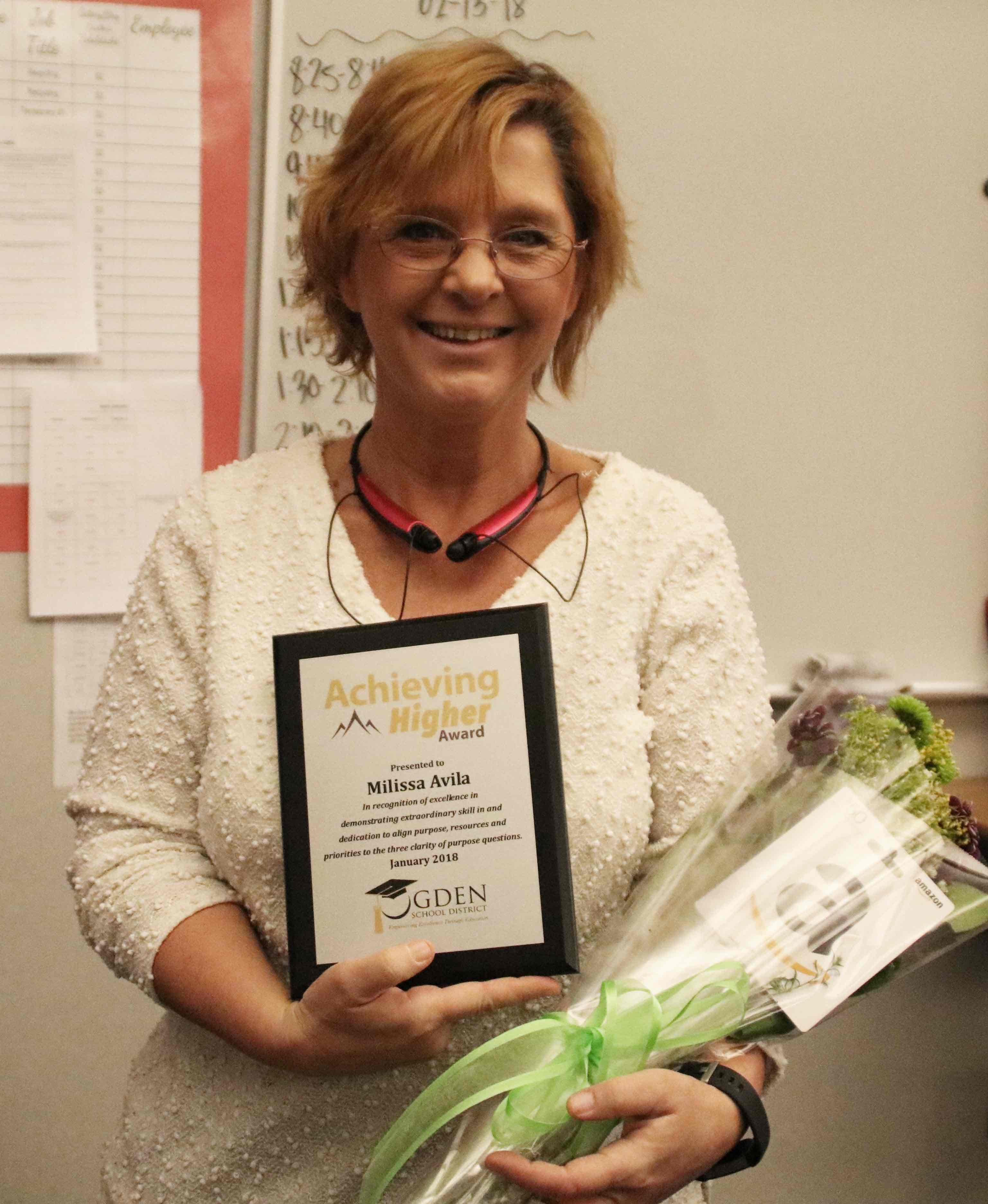 Congratulations to Milissa Avila, Lincoln 5th grade teacher, for being honored with Ogden School District's January Achieving Higher Award!