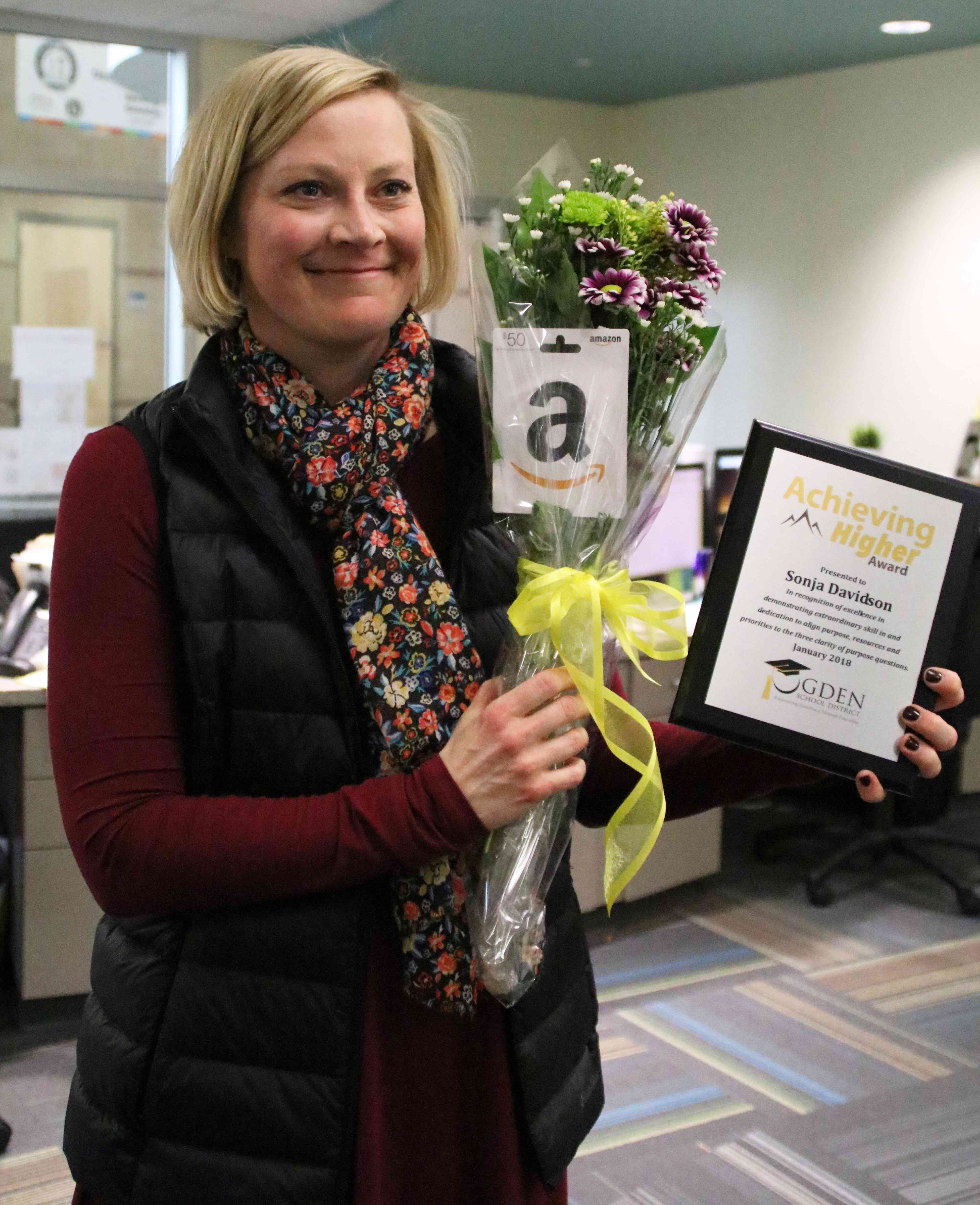Congratulations to Sonja Davidson, New Bridge vice principal, for being honored with Ogden School District's January Achieving Higher Award!